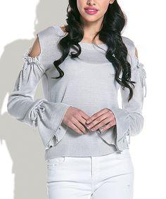 Gray Cutout Bell-Sleeve Sweater