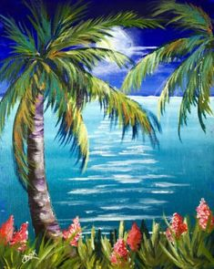 Paradise Moonlight - Full Lesson - Acrylic Painting Lessons for Beginners to Advanced Artists Easy Paintings, Landscape Paintings, Palm Tree Paintings, Tropical Paintings, Back Painting, Tropical Art, Pictures To Paint, Painting Inspiration, Art Projects