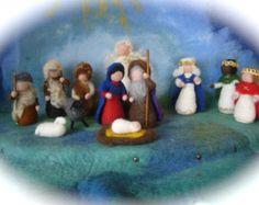 by FilzArts on Etsy Nativity Crafts, Christmas Nativity, Felt Christmas, Christmas Crafts, Christmas Decorations, Nativity Silhouette, Felt Animal Patterns, Needle Felting Tutorials, Clothespin Dolls