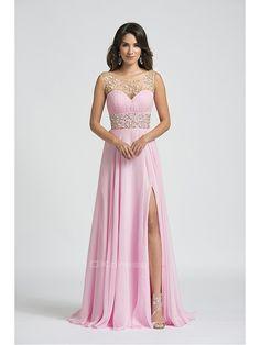 Pink Split Beaded Sweep Train Prom Dress