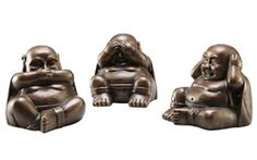 Three Wise Buddhas Figurines Statues Sculptures, Home Décor available for Sale at AllSculptures.com