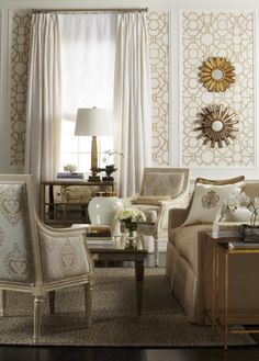 Ethan Allen Living Rooms. A fresh take on gold and white.