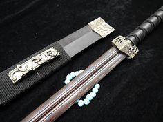 """Han jian/Pattern-welded steel Black Blade/Handmade/Black Wood scabbard/Alloy fitting/Length 39"""""""