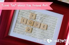 DIY Valentine Gifts - Word Tile Picture Frame - Gifts for Her and Him, Teens, Teenagers and Tweens - Mason Jar Ideas, Homemade Cards, Cheap and Easy Gift Ideas for Valentine Presents http://diyprojectsforteens.com/diy-valentine-gifts