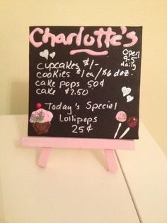 This listing is for the custom bakery sign with easel, Sign measures 4x4 Like us on facebook dollidays