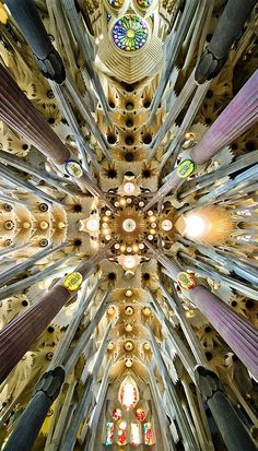 The columns of the interior are a unique Gaudí design. Besides branching to support their load, their ever-changing surfaces are the result ...