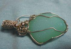 Sterling silver & pale green druzy quartz pendant by RaptFyre on Etsy