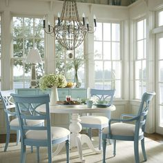 Like the table and seats matching while the blue contrasting wood adds interest