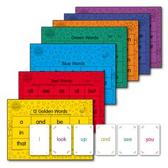 Magic Words Playing Cards match the words on the coloured sheets and rapidly improve reading while playing games and having fun.