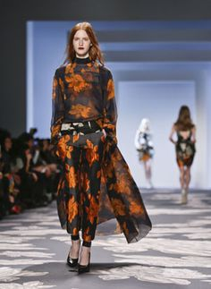Vera Wang's vibrant brocade pants and matching floaty top.  - - - Designers Take A Chance On Pants For Evening