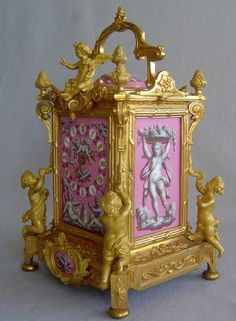 Antique French clock in pink porcelain and ormolu by Levy at Gavin Douglas Fine Antiques Ltd.