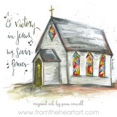 """Chapel """"Victory in Jesus"""" – From the Heart Art Scripture Art, Bible Art, Christian Art, Christian Drawings, Paint Party, Learn To Paint, Heart Art, Kirchen, Painting Inspiration"""