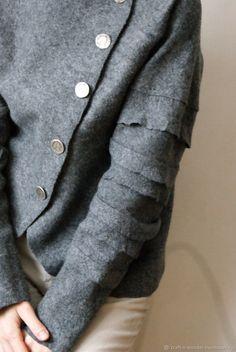 """Купить жакет войлочный """"Silver"""" - серебро, серый, натуральная шерсть, жакет женский, одежда для женщин"""