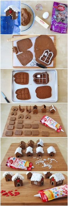 Mini Gingerbread Houses!  Love the all in one cookie cutter!