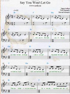 James Arthur — Say You Won't Let Go Download PDF Piano Sheet Music