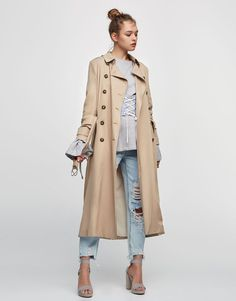 Pull&Bear - woman - clothing - coats and jackets - long flowing trench coat - sand - 09710372-V2017