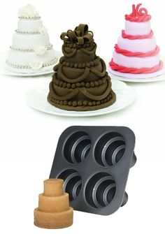 Buy these Multi Tiered Mini Cakes Baking Pans to make treats for bridal shower, sweet sixteen, anniversary party...