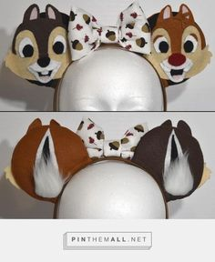 Disney inspired Chip and Dale ears. Disney inspired Chip and Dale ears. Disney Ears Headband, Diy Disney Ears, Disney Headbands, Disney Mickey Ears, Disney Bows, Diy Headband, Diy Mickey Mouse Ears, Mickey Mouse Headband, Disney Hair