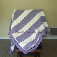 Crochet Afghan in bulky Bernat Lilac and White. I love purple!