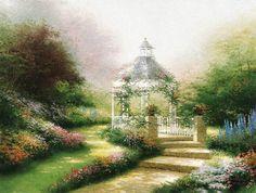 Hidden Gazebo Painting by Thomas Kinkade