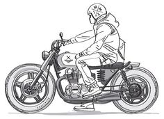 life on a motorcycle Motorcycle Art, Motorcycle Design, Bike Design, Motorcycle Clipart, Estilo Cafe Racer, Cafe Racer Style, Bike Drawing, Drawing Sketches, Drawings