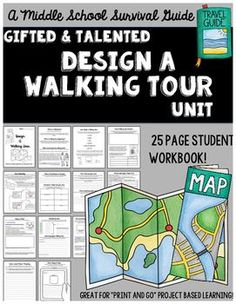 "Gifted and Talented Unit - Design A Walking Tour: A ""print and go"" project based learning unit for the middle grades! Students work to research and design a walking tour for a location of their choice! They will create a website and/or a brochure as well as design a social media marketing plan and an app."