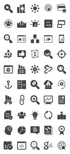 50 SEO Glyph Icons by IconBunny on Creative Market
