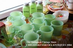 CHIGASAKI SAKURA ANTIQUES | 樂天海外銷售: 火王火王 fireking 流行 No1 絕地玉翡翠顏色 D 柄杯杯將交付整個玉 ite 玉耐熱玻璃在 1960年-1976 年。
