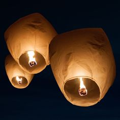Sky Lanterns, or Chinese Lanterns, provide a special and unique element to your wedding reception. You and your wedding guests will gather outside to decorate the night sky with a beautiful stream of glowing lights. Plus, these sky lanterns are made with a premium, biodegradable design that comes fully assembled and ready to use!
