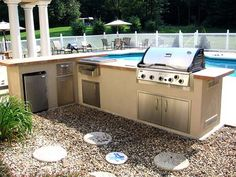 Kitchen Designs. The Interesting Design Of The Backyard Kitchen Design Ideas With The Best Decoration: The Wonderful Design Of The Backyard Kitchen Deisgn Ideas With The Beautiful Deisgn Of The Kitcehn With The Brown L Shaped Of Backsplash And The Gray Fl #kitchen island designs  backyard kitchen designs