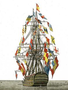 Ship paintings (Art collection) - Page 3 - History - Game-Labs Forum Naval Flags, Old Sailing Ships, Ship Of The Line, Ship Paintings, Naval History, Wooden Ship, Nautical Art, Realistic Paintings, Navy Ships
