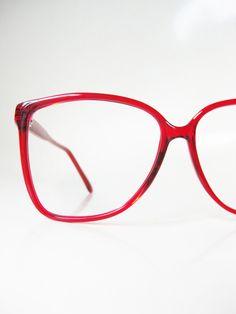 718a9e83d7 Cherry Red Eyeglasses Womens 1980s Wayfarer Oversized Glasses Eyeglass  Frames Bright Crimson Deadstock Authentic Vintage 80s Eighties