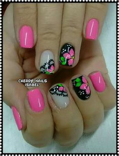 Pin by Tonya Deptula-Nicholson on Nails in 2019 Easter Nail Designs, Flower Nail Designs, Pink Nail Designs, Posh Nails, Uk Nails, Nail Manicure, Cute Nail Art, Nail Shop, Flower Nails
