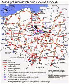 Mapa postulowanych dróg i kolei dla Płocka, strategicznego ośrodka paliwowo-energetycznego Polski.
