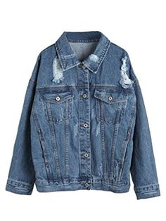 Choies Women's Denim Blue Sport Distressed Denim Jacket Outwear ** More info could be found at the image url.