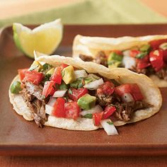Beef Carnitas Tacos | Cooking Light - these were good, fresh tastes for a summer night!