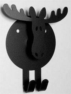 Elg knagerække, svensk design, sort smedejern m. 2 kroge, gevir som knager og hals til bøjler, stor.