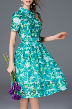 Blueoxy Green Printed Belted Shirt Dress