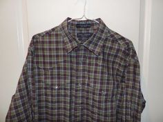 Daniel Cremieux Cowboy 100% Cotton Purple Plaid Western Style Shirt SZ L Mint (Pre-Owned)