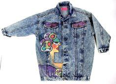 Punk Graffiti 80's Hand Painted Vintage Jacket M Movie Tv Prop Folk Art HipHop #Elle #JeanJacket