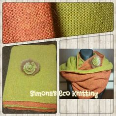 Double snood, orange and green. Knitted by knitting machine. Page in Facebook: https://www.facebook.com/pages/Simonas-Eco-Knitting/419274981538622