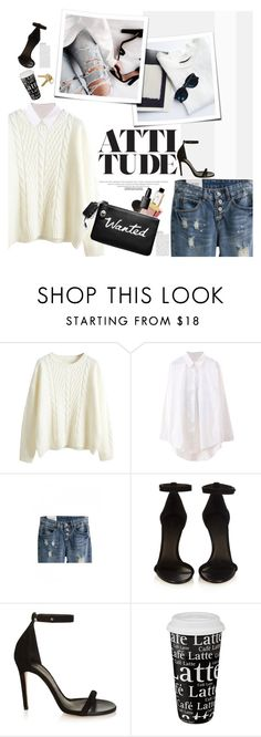 """Cable knit and ripped jeans"" by naki14 ❤ liked on Polyvore featuring Balmain, Isabel Marant, Könitz, Maison Margiela, beautifulhalo and bhalo"