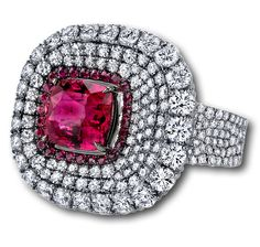Ruby cushion cut ring from the Martin Katz Divine Collection is microset with 336 white diamonds and 26 rubies. (=)