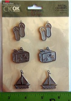 Lot of 6 TRAVEL THEME Self-Adhesive METAL CHARMS Acid-free for Scrap Booking, Journals, Card making