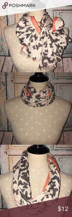 LOFT~Butterfly Themed Light Scarf~OS Have a ball twisting, tying, pinning, and tucking this beauty into various styles to accentuate your ensemble. A Spring/Summer staple and this coral trimmed beauty will have you wanting more even when cooler weather comes in the fall!  Manufacturing and care tag are MIA, but this is easily a hand washable/ hang dry candidate. I cannot authenticate the store purchase, but am sure it's a product from the Loft store near my home. Length is quartered in…