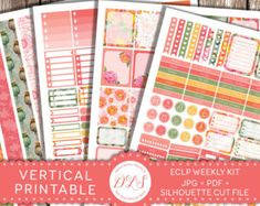 This printable weekly planner stickers kit is created for new (2016/2017) Erin Condren Life Planner VERTICAL. This is digital product (no physical stickers will be sent) and is for personal use only.  This very romantic kit was inspired by the look of a garden on a frosty morning, full of subdued hues and lovely shimmer. The kit contains large variety of decorative and functional stickers that will adorn your planner. You will be able to create your own beautiful weekly spread that you can…