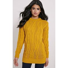 Moon Mustard Cable Knit Mid Jumper-6 (£20) ❤ liked on Polyvore featuring tops, sweaters, yellow, jumper top, cable sweater, mustard top, chunky cable knit sweater and cable knit jumper