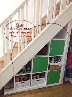 Expedit under-stairs storage - IKEA Hackers A clever idea to utilize the space below the staircase! IKEA Hackers: Expedit under-stairs storage Under Stairs Storage Ikea, Space Under Stairs, Staircase Storage, Under Stairs Cupboard, Stair Storage, Ikea Storage, Storage Ideas, Diy Understairs Storage, Open Staircase