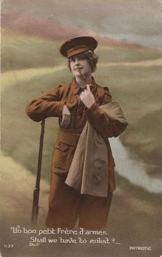 "WW1 Woman Dressed as Soldier by Vintage Lulu on Flickr.    photo  WW1 Woman Dressed as Soldier    Patriotic card showing young woman dressed as a ""Tommy"" - WW1 period"