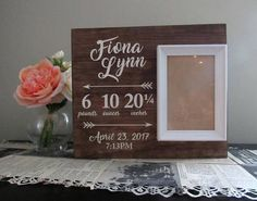 Personalized Baby Photo Frame Baby Stats Sign Custom baby
